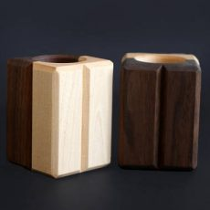 Solid Maple & Walnut Candle Holder