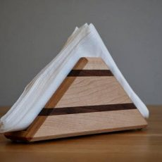 Solid Maple & Walnut Napkin Holder dark