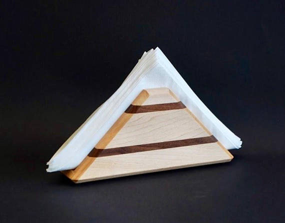 Solid Maple & Walnut Napkin Holder light